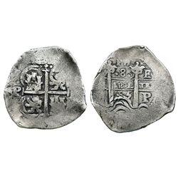 Potosi, Bolivia, cob 8 reales, 1655E, PH at top.