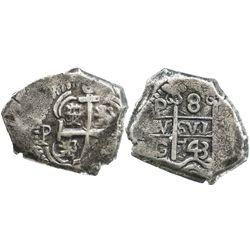 Potosi, Bolivia, cob 8 reales, 1743C, edge cut (23.5 grams).