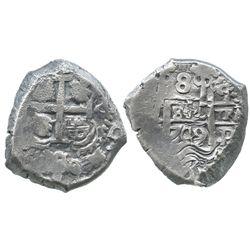 Potosi, Bolivia, cob 8 reales, 1749q.