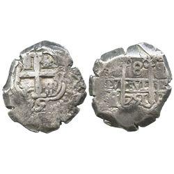 Potosi, Bolivia, cob 8 reales, 1751q/E, very rare.