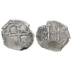 Potosi, Bolivia, cob 4 reales, 1689VR.