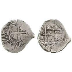 Potosi, Bolivia, cob 2 reales, 1658E.