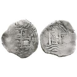 Potosi, Bolivia, cob 2 reales, 1663E.