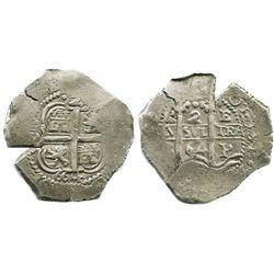 "Potosi, Bolivia, cob 2 reales, 1664E, date as ""664"" below cross."
