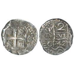Potosi, Bolivia, cob 2 reales, 1742C/P, encapsulated NGC AU 50, rare.