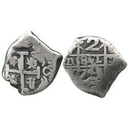 Potosi, Bolivia, cob 2 reales, 1743/2C/P, unique overdate.