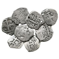 Lot of 8 Potosí, Bolivia, cob 2 reales, various dates and kings (Philip V-Charles III).