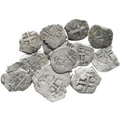 Lot of 14 Potosi, Bolivia, cob 2R and 1R, various dates and kings (Philip V-Ferdinand VI).