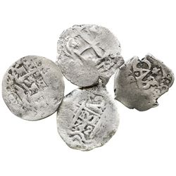 Lot of 4 Potosi, Bolivia, small silver cobs (2R 1742, 1R 1653 and 1729, and 1/2R 1685).