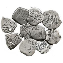 Lot of 10 Potosí, Bolivia, cob 1 reales, various dates and kings (Philip IV-Ferdinand VI).