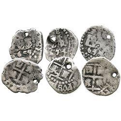 Lot of 3 Potosi, Bolivia, cob 1/2R of Philip IV, 1654 (2) and 1655.