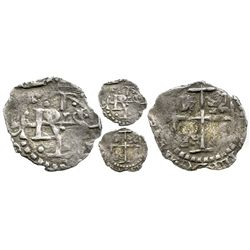 Potosi, Bolivia, cob 1/2 real, (1656), one-year type with cross on both sides.