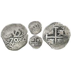 Potosi, Bolivia, cob 1/2 real, 1670, two-digit date.