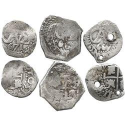 Lot of 3 Potosi, Bolivia, cob 1/2R of Charles II: 1667, 1671 and 1682.