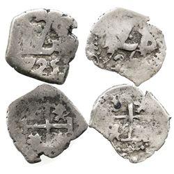 Lot of 2 Potosi, Bolivia, cob 1/2R, Louis I, 1725 and 1726.