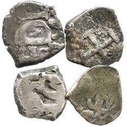 Lot of 4 Potosi, Bolivia, cob 1/2R of Ferdinand VI, various dates (1747-54), where visible.