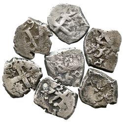 Lot of 7 Potosi, Bolivia, cob 1/2R of Charles III, various dates (1760-71), where visible.