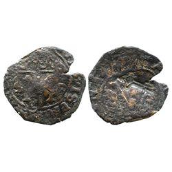 Santo Domingo, Dominican Republic, copper 4 maravedis, Charles-Joanna, assayer F, with key  counterm
