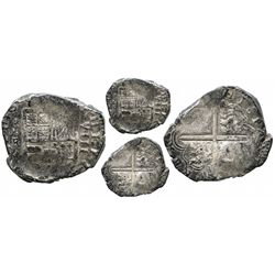Cartagena, Colombia, cob 8 reales, Philip IV, assayer E below mintmark RN to left (late 1620s), rare