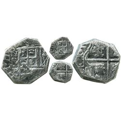 Bogota, Colombia, cob 2 reales, Philip IV, assayer P (1627-32), NR-P to left, lions and castles tran
