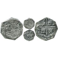 Bogota, Colombia, cob 2 reales, Philip IV, assayer A (1632-42), NR-A to left, denomination 2, lions