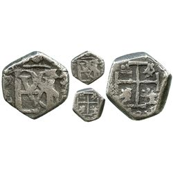 Bogota, Colombia, cob 1/2 real, Philip IV, assayer not visible.