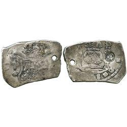 Guatemala, cob 8 reales, (17)48J, with sun-over-mountains countermark (Type II, 1838) on pillars sid