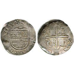 Seville, Spain, cob 8 reales, Philip II, assayer C at 4 o'clock outside tressure around cross, rare.
