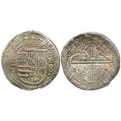 Valladolid, Spain, cob 8 reales, Philip II, assayer F (1590), very rare.