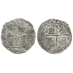 Seville, Spain, cob 1/2 real, Philip II, assayer Gothic D to right of monogram, legends transposed.