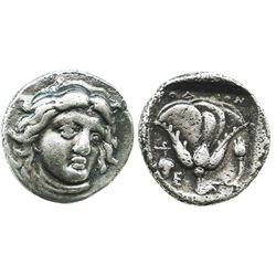 Caria, Rhodes, AR didrachm, Helios and rose, 340-316 BC.