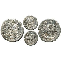 Roman Republic, AR denarius, M. Atilius Saranus, 148 BC, Rome  mint.