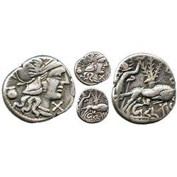 Roman Republic, AR denarius, Sex. Pompeius Fostlus, 137 BC, Rome mint.