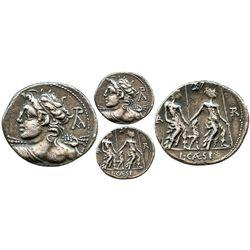 Roman Republic, AR denarius, Lucius Caesius, 112-111 BC, Rome mint.