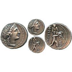 Roman Republic, AR denarius, M. Herennius, 108-107 BC, Rome mint.