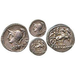 Roman Republic, AR denarius, P. Servilius M.f. Rullus, 100 BC, Rome mint.