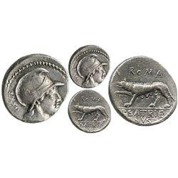 Roman Republic, AR denarius, P. Satrienus, 77 BC, Rome mint.