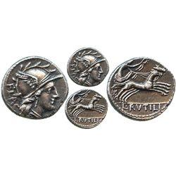 Roman Republic, AR denarius, L. Rutilius Flaccus, 77 BC, Rome mint.