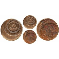 Buenos Aires, Argentina (National Bank), copper 20 decimos, 1827, rare error struck about 30% off-ce