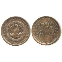 Buenos Aires, Argentina (National Bank), copper 20 decimos, 1827.