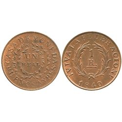 Buenos Aires, Argentina, copper 1 real, 1840.