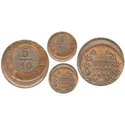 Buenos Aires, Argentina, copper 5/10 real (5 decimos), 1827, off-center error.