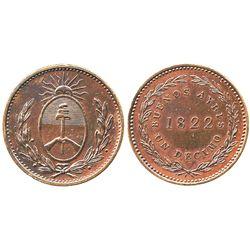 Buenos Aires, Argentina, copper 1 decimo, 1822.