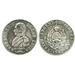 """La Rioja, Argentina, 2 reales, 1842, Rosas, """"DELAS"""" variety."""