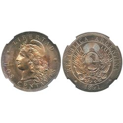 Argentina, copper 2 centavos, 1891, encapsulated NGC MS 65 BN, finest known specimen graded by NGC.