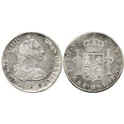 Potosi, Bolivia, bust 8 reales, Charles III, 1788PR.