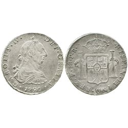 Potosi, Bolivia, bust 8 reales, Charles IV transitional (bust of Charles III, ordinal IV), 1790PR, w