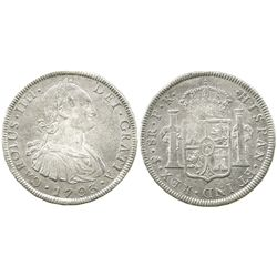 Potosi, Bolivia, bust 8 reales, Charles IV, 1793PR.