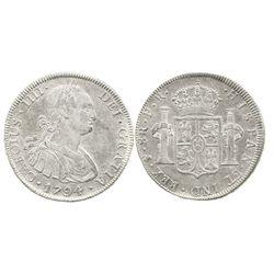 Potosi, Bolivia, bust 8 reales, Charles IV, 1794PR.