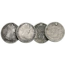 Lot of 2 Potosi, Bolivia, bust 8 reales: 1808PJ (Charles IV) and 1817PJ (Ferdinand VII).